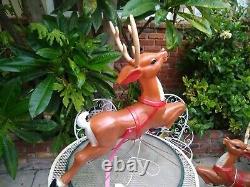 Vtg General Foam Christmas Santa Sleigh Reindeer Blow Mold Decor Yard Decor #1