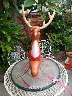 Vtg General Foam Christmas Santa Sleigh Reindeer Blow Mold Decor Yard Decor #3