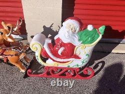 Vtg Grand Venture Santa Sleigh & Three Reindeer Blow Mold Christmas Yard Decor
