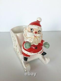 Vtg Holt Howard Santa & sleigh pulled by reindeer candle holders Christmas Japan