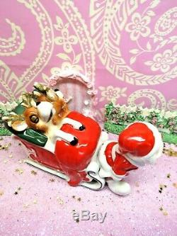 Vtg Kreiss Christmas Santa Sleigh TWO Sleeping Napping Reindeer W Gold Antlers
