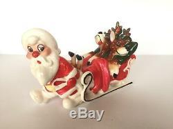 Vtg Kreiss Xmas figurine Santa pulling reindeer asleep drunk in sleigh Japan