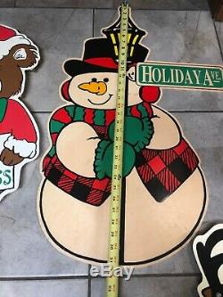 Vtg Large Christmas Plastic Santa Sleigh Snowman Reindeer Bear Yard Ornament Lot