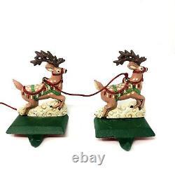 Vtg Midwest Cannon Falls Cast Iron Santa Sleigh Reindeers Stocking Holder Set