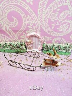 Vtg Napco Santa Sleigh Leaping Reindeer GOLD STAR Base WITH TWO EXTRA DEER