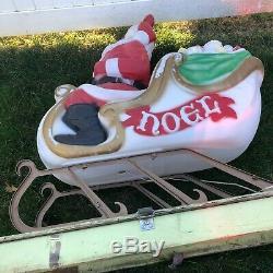 Vtg Santa Sleigh Blow Mold lighted