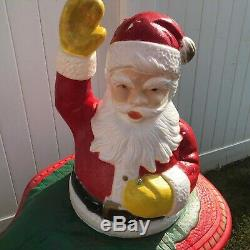 Vtg Santa Sleigh Poloron Blow Mold lighted & tw Reindeer Christmas Yard decor