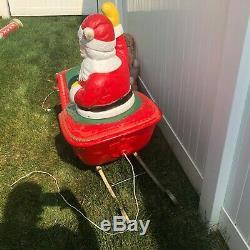 Vtg Santa Sleigh & Reindeer Poloron Blow Mold lighted