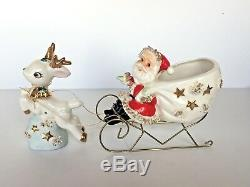 Vtg Santa planter in wire sleigh with reindeer Christmas figurines Thames Japan