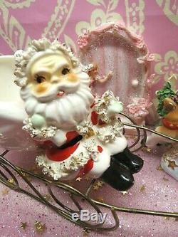 Vtg THAMES Santa Sleigh W Rudolph Reindeer GOLD STAR Spaghetti Base W LABEL