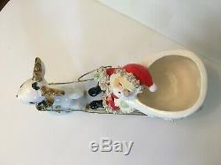Vtg Thames Santa Reindeer Sleigh Spaghetti Ceramic Christmas Japan Napco Lefton