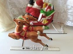 Vtg Xmas blow mold Santa waving sleigh 2 reindeer empire table top 1970 USA