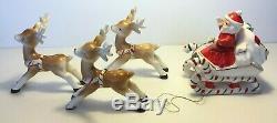 Vtg ceramic Santa Claus in sleigh + 3 reindeer Christmas figurines set Japan