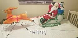 Working Vintage 70's EMPIRE Blow Mold Santa Sleigh Reindeer Red Straps Cords
