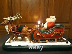XL 1995 Christmas Holiday Creations REINDEER, Santa in Sleigh Light and Music